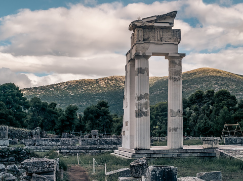 Temple of Asclepius in Epidaurus. Argolis, Peloponnese, Greece.
